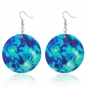 Blue Green Cosmos Round Dangle Earrings